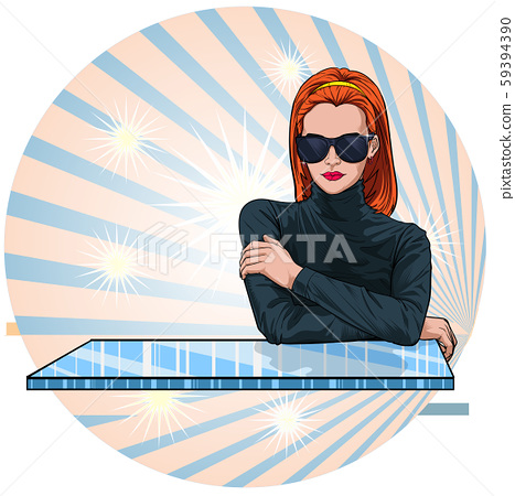 Beautiful women wearing clothes sunglasses fashion Hairstyle glamour Illustration vector On pop art comic style Abstract background 59394390