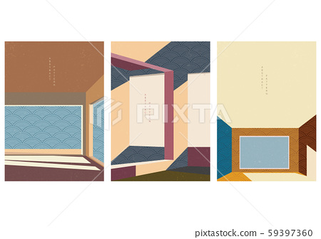 Architecture background with Japanese wave pattern vector. Geometric template with city space elements. Brown and yellow abstract layout design. 59397360