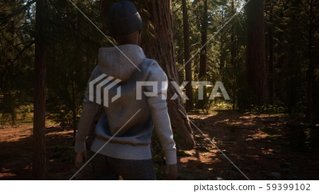 Woman in Yosimite national park near sequoia 59399102