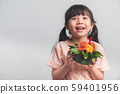 Cute Little Asian Thai Girl with Krathong. 59401956