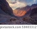 Martian landscape in mountains of Tajikistan, 59403312