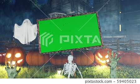 Halloween background animation with green screen banner, with creepy skeleton, hands of the dead 59405023