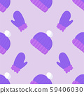 Cartoon pattern with wool winter violet hat on soft lilac backdrop 59406030