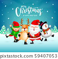 Funny Christmas Characters design on snow background, Santa Claus, Snowman, elf and Reindeer.  59407053