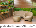 Seating in the garden on the balcony, is a 59407625