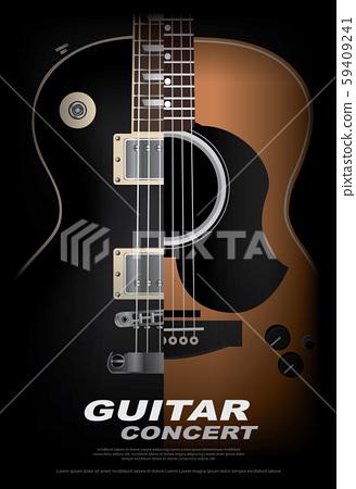 Guitar Concert Poster Background Template Vector Illustration 59409241