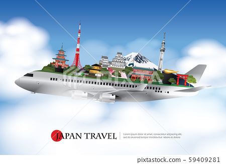 Japan Travel and Attractions with Landmark Vector Illustration 59409281