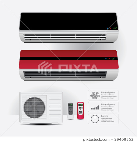 Air Conditioner Realistic and Remote Control with Cold air Symbols Vector Illustration 59409352