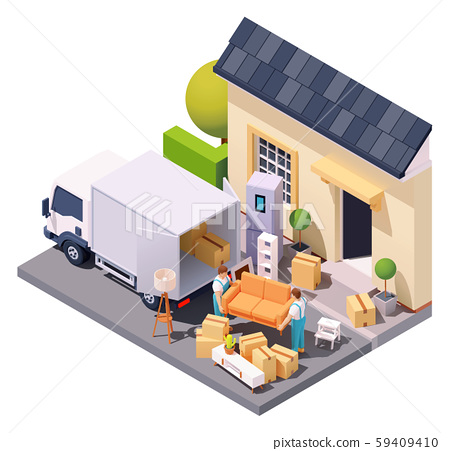 Vector isometric movers at house relocation 59409410