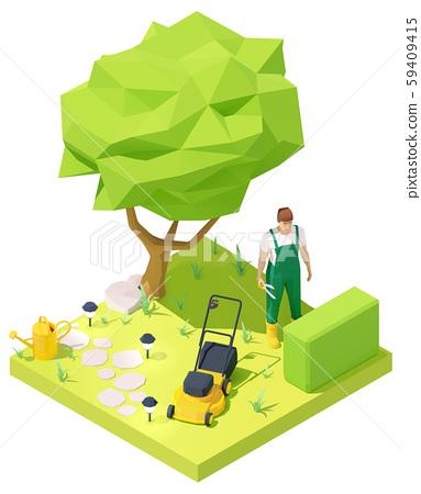 Vector isometric gardener working in garden 59409415