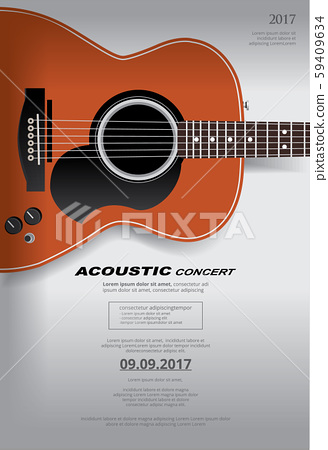 Acoustic Guitar Concert Poster Background Template 59409634