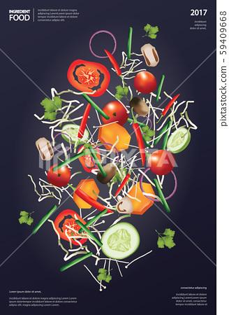 Flying Ingredient Food Vector Illustration 59409668