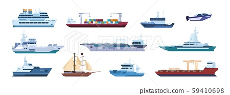 Flat boats. Ocean sailboats ships yacht and catamarans, isolated marine transport. Vector sailing 59410698