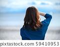 바다 여성 푸른 하늘 라이프 스타일 59410953