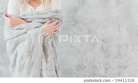 vulnerable sensitive woman gray knitted blanket 59411326