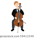 Vector illustration of a man playing the cello 59411549