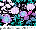 Tropical plants and flowers. Seamless pattern 59412211