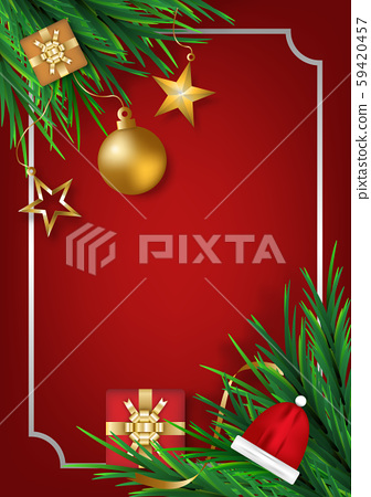 Christmas ball with star gifts box and pine leaves on red background for posters, cards, headers, website. realistic vector illustration. 59420457
