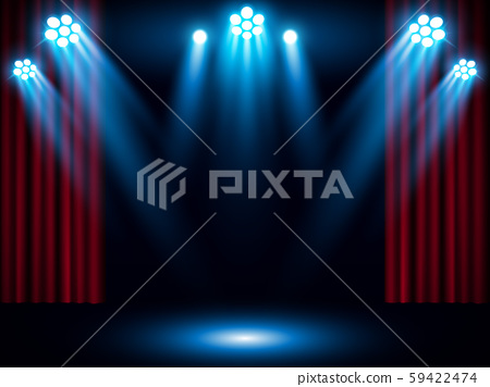 Theater stage on red curtain with spotlight vector background 59422474
