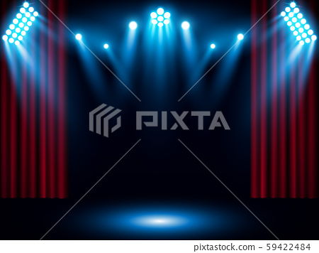 Theater stage on red curtain with spotlight vector background 59422484