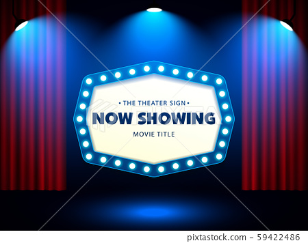 Cinema Movie Theater Retro Sign on red curtain with spotlight illuminated vector Illustration 59422486