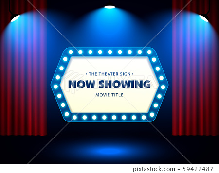 Cinema Movie Theater Retro Sign on red curtain with spotlight illuminated vector Illustration 59422487