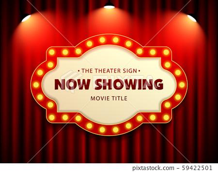 Cinema Movie Theater Retro Sign on red curtain with spotlight illuminated vector Illustration 59422501