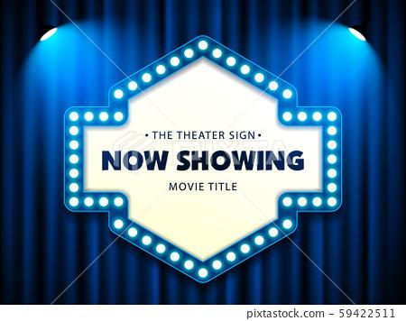 Cinema Movie Theater Retro Sign on blue curtain with spotlight illuminated vector illustration 59422511