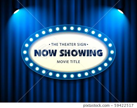 Cinema Movie Theater Retro Sign on blue curtain with spotlight illuminated vector illustration 59422517