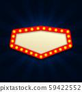 Retro Light Vintage signboard, cinema, billboard with lightbulp vector illustration 59422552