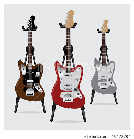 Vector Illustration Electric Guitar set with Stand 59422704