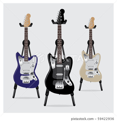 Vector Illustration Electric Guitar set with Stand 59422936
