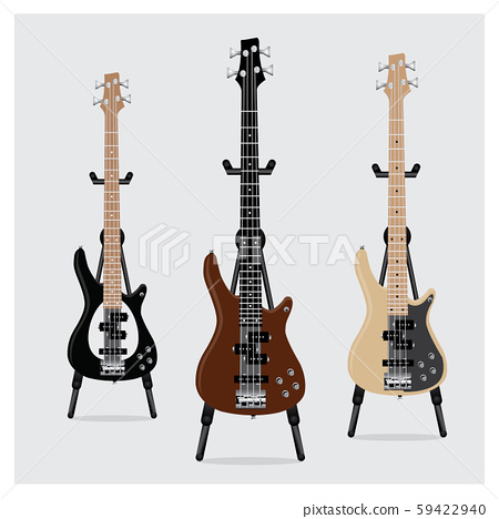 Vector Illustration Electric Bass Guitar set with Stand 59422940