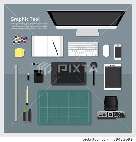 Flat design Graphic Designer Workplace concept Vector Illustration 59423092