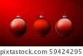 Set of three Red 3D Christmas balls with shadows 59424295