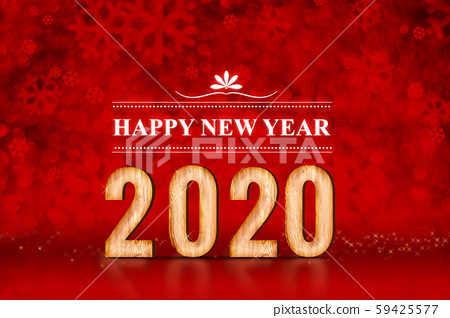 Happy New Year 2020 number at red snowflakes 59425577