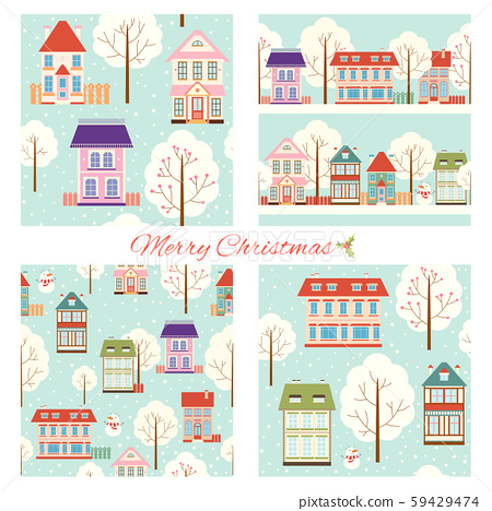 Set of seamless Christmas patterns with cute 59429474