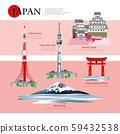 Japan Landmark and Travel Attractions Vector Illustration 59432538