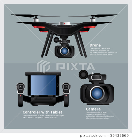 Drone with VDO Camera and Controller Vector Illustration 59435669
