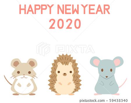 2020年新年賀卡材料53 Harinezumi Mouse老鼠倉鼠 59438340