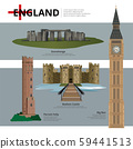 England Landmark and Travel Attractions Vector Illustration 59441513