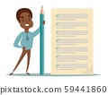 Happy african businessman holding a pencil looking at completed checklist on clipboard. 59441860