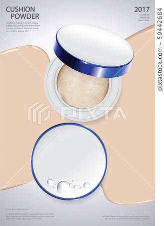 Makeup Powder Cushion Poster Template Vector Illustration 59442684