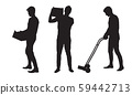 Set silhouette of a man carrying a box and 59442713