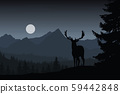 Deer in night landscape with forest and mountains 59442848