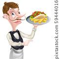 Cartoon Kebab and Chips Waiter Pointing 59444016