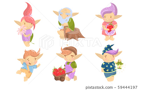 Cute Troll Characters Vector Set. Funny Creatures With Colored Hair Collection 59444197