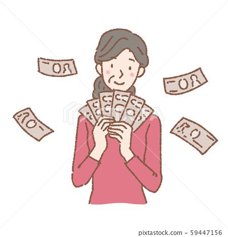 돈을 손에 중년 여성 일러스트 59447156