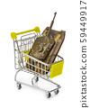 Toy panzer in shopping cart 59449917