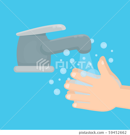 Pair of hands washing using soap  59452662